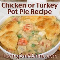 This chicken pot pie can be ready in just 30 minutes! Your family will love it and never know it uses leftovers! Click here to get this easy #recipe http://www.livingonadime.com/easy-chicken-turkey-pot-pie-recipe/