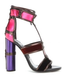 Tom Ford Patchwork Metallic Leather and Velvet Sandals