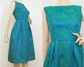 50s 60s Dress Vintage Green Blue Brocade Full Skirt Holiday Party Dress S