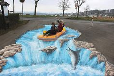 Preperation of 4 pieces shown in each of 12 German shopping malls   2014 - 2015 3d street-painting-roadshow