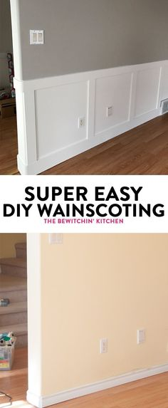 DIY Wainscoting renovation. I didn\'t think installing wainscotting would be so easy. Here is some inspiration, a how to, and my secret to getting started. Wainscoting paint color is Benjamin Moore Cloud White. Walls are both Revere Pewter and Classic Grey
