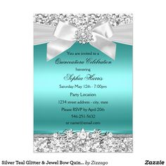 Silver Teal Glitter & Jewel Bow Quinceanera Card Silver & Teal Quinceañera Party Invitation. Pretty Silver glitter & diamond jewel bow.