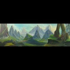 "Original oil painted ""Smarald valley"""
