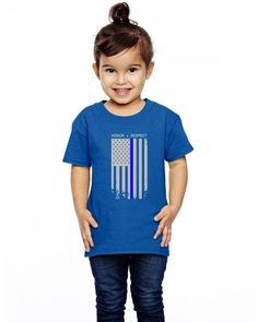 thin blue line american flag honor respect funny Toddler T-shirt