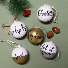 Excited to share the latest addition to my #etsy shop: Personalised Handmade Hand Painted Calligraphy Ceramic Christmas Baubles