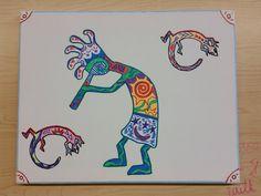Kokopelli in canvas by MiaSalt on Etsy https://www.etsy.com/listing/246780982/kokopelli-in-canvas