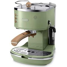 Delonghi Vintage Icona Espresso Coffee Machine - ECOV310 - Olive Green ($235) ❤ liked on Polyvore featuring home, kitchen & dining, small appliances, kitchen, casa, decorations, green, stainless steel tea kettle, stainless steel toaster and stainless steel coffee maker