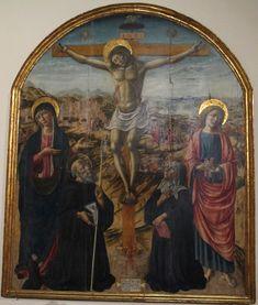 Андреа ди Никколо. (1440-1525). Распятие с Девой Марией, святыми Иоанном, Бенедиктом и Схоластики. 1502