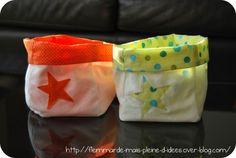 Paniers en tissu & Tuto de forme carrée