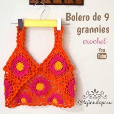 #Bolero primavera tejido a #crochet con 9 grannies! Video tutorial del paso a paso ;)
