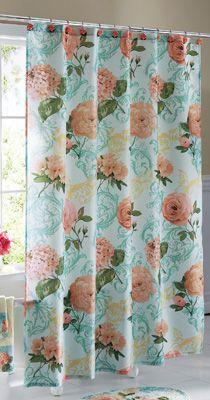 Vintage Floral Bathroom Shower Curtain