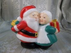 Vintage Molded Wax Santa and Mrs Claus Cute Figurine Decoration Candle | jjandedt - Collectibles on ArtFire