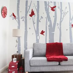 www.vinylimpression.co.uk Vinyl Wall Sticker - Birch Tree Forest Wall sticker for home and office.