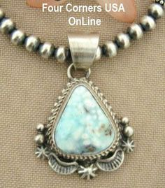 Petite Dry Creek Turquoise Pendant Silver Bead Necklace Native American Indian…