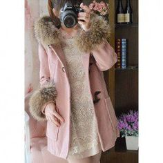 $20.88 Sweet Scoop Neck Fur Collar Horn Buttons Long Sleeves Fitted Woolen Blend Coat For Women