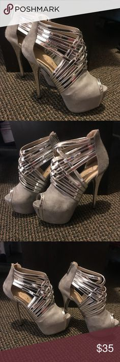 a94c5127dd3 Aiko High Heels Size 5 Brand New - Aiko Suede High Heels - Size 5 -  Grey Silver - Red Bottoms Aiko Shoes Heels