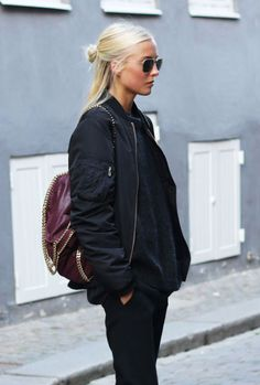 Street. Bomber. Glasses. Burgundy. Blond soft hair. Style