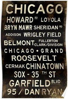 Distressed Chicago L Subway Sign Art Posters