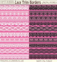 20 Lace Borders Digital Clipart LACE TRIM by DigitalStories, €2.80