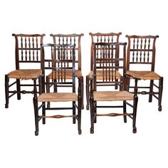 English Game Table Chairs, Set of 6 #huntersalley