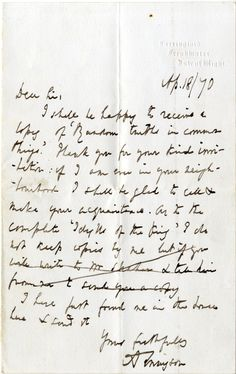 TENNYSON ALFRED: (1809-1892) English Poet Laureate.   A.L.S., A Tennyson, one page, 8vo, Farringford, Freshwater, Isle of Wight, 18th April 1870, to [Rev. John Richard Vernon]. Tennyson confirms that he shall be happy to receive a copy of his correspondent's Random Truths in Common Things and adds 'If I am ever in your neighbourhood I shall be glad to call & make your acquaintance'. The poet continues 'As to the complete 'Idylls of the King' I do not keep copies.