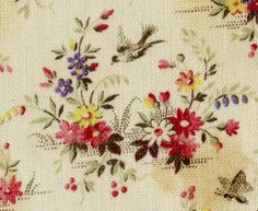 Floral & bird print on cotton. Late 19th c.  This is the kind of thing that shd be saccharine/ unappealing, but in fact this little print's got heart. It works! Maybe because the bird's zooming.  Lots of energy in the trajectory of its flight.