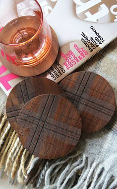 Engraved Wood Coasters -Tartan