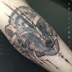 Bear tattoo by Philip Milic