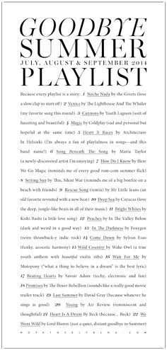 Love the typography style. Playlist from notetoselfblog.com
