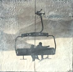 On the Lift encaustic ski painting by Lee Anne LaForge Bear Paintings, Cute Paintings, Outdoor Rink, Sports Painting, Kiln Formed Glass, Cast Glass, Winter Art, Canadian Artists, Winter Landscape