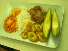 Traditional puertorican dish. Rice, white beans, biftec,plantains and avocado!