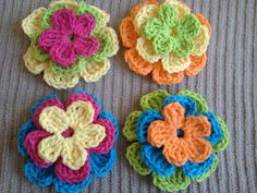 Stackable Flowers  Set of 4 Trios  Treasury by SamsCrochet on Etsy, $19.00