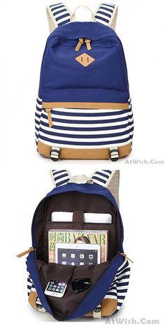 Cheap Fresh Splice Striped Trunk Travel Rucksack School Canvas Backpack For Big Sale! Lace Backpack, Backpack Outfit, Striped Backpack, Backpack Travel Bag, Fashion Backpack, Cute Backpacks, Girl Backpacks, College Backpacks, Canvas Backpacks