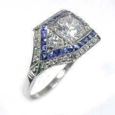 0.60ct Art Deco Platinum Diamond Sapphire Ring | New York Estate Jewelry | Israel Rose