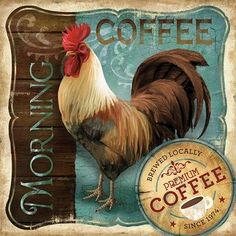 Morning Coffee Conrad Knutsen French Rooster Framed Art Print Wall Décor Picture