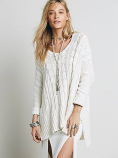 Free People Easy Cable V neck Pullover at Free People Clothing Boutique