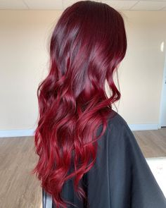 Red Balayage Hair, Red Ombre Hair, Hair Color Streaks, Hair Dye Colors, Red Hair Color, Red Colored Hair, Red Pink Hair, Magenta Hair Colors, Cherry Red Hair