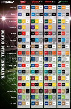 vinyl colors that best correspond to NFL team colors Silhouette Vinyl, Silhouette Cameo Projects, Silhouette Machine, Vinyl Crafts, Vinyl Projects, Nfl Team Colors, Thing 1, Outdoor Signs, Vinyl Cutting