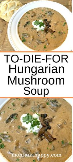 Rustic Hungarian Mushroom Soup Rustic Hungarian Mushroom Soup is a creamy soup recipe that will quickly become one of your family's favorite. To-Die-For is an accurate description for this easy dish that will make everyone happy. Creamy Soup Recipes, Best Soup Recipes, Vegetarian Recipes, Cooking Recipes, Favorite Recipes, Healthy Recipes, Summer Soup Recipes, Dinner Recipes, Lunch Recipes