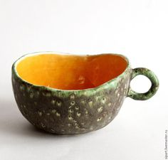 """Купить Чашка """"Саламандра"""" - чашка ручной работы, Керамика, керамическая посуда, рептилия, оранжевый, зеленый"""