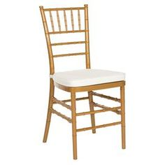 """Indoor/outdoor chiavari side chair in gold with a removable tie-on cushion.   Product: Set of 2 chairsConstruction Material: Polycarbonate resin and fabricColor: Gold Features: Removable tie-on cushionSuitable for indoor and outdoor use Dimensions: 35.8"""" H x 16.1"""" W x 16.5"""" D"""