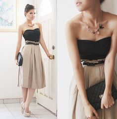 Beautiful, Simple, Stylish. High waisted skirt, black tank top, black skinny belt and nude pumps