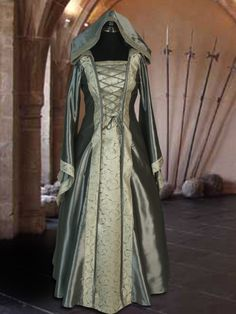 Renaissance Clothing with hood costume sliver gray Dresses Renaissance Medieval Gown Maid Marion Dress Princess Medieval Gown, Medieval Costume, Renaissance Clothing, Medieval Fashion, Middle Ages Fancy Dress, Costume Hire, Costume Ideas, Gowns Of Elegance, Cosplay Outfits