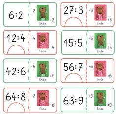 Rechendomino Umkehraufgaben- Rechnen mit Frau und Herr Bär multiplizieren und dividieren in der 2er, 3er, 4er, 5er, 6er, 7er, 8er und 9er Reihe.