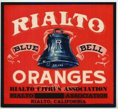 RIALTO BLUE BELL Orange Crate Label