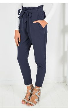Navy Tie Pants - Bottoms - Clothing