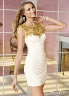 Shop NEW 2014 Alyce Paris 4375 white, gold beaded sleeveless prom dresses available now at RissyRoos.com..