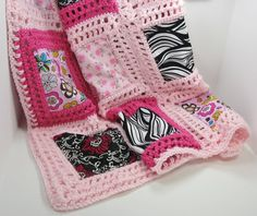 Crochet baby blanket pattern, patchwork crochet and fabric, PDF