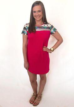 Sequin Neck Tunic Dress