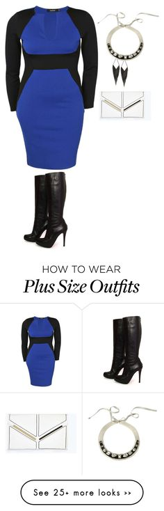"""plus size beyond diva look2"" by kristie-payne on Polyvore featuring Boohoo, Christian Louboutin and GUESS"